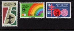 671365867 TURKISH CYPRUS 1982 POSTFRIS MINT NEVER HINGED POSTFRISCH EINWANDFREI SCOTT 122 123 124 SCOUTING SOCCER KOCK - Chypre (Turquie)