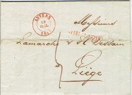 """LAC D'ANVERS Datée Du 29 JUILLET 1847 Vers LIEGE + Griffe """"APRES LE DEPART"""" Lettre Signée De GERMAIN Jos. ESSINGH - 1830-1849 (Belgique Indépendante)"""