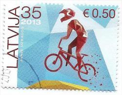 2013 Latvia - Cucling - BMX - First Stamp Which Are Denominated In Lats And Euro  USED (O) - Latvia
