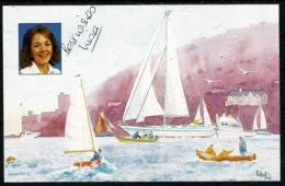 Ref 1240 - 1994 Autograph Postcard - Lisa Clayton & Yacht Spirit Of Birmingham - Sailing - Sailing