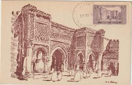 Carte-Maximum MAROC N° Yvert 115 (MEKNES - Porte BAB MANSOUR) Obl Sp 1945 - Marokko (1891-1956)