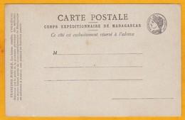 Corps Expéditionnaire De Madagascar - Carte Postale En Franchise Militaire - Non Utilisée - Storia Postale