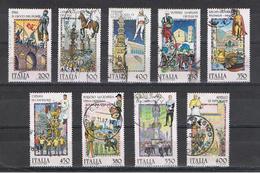 REPUBBLICA:  1982/89  FOLKLORE  -  9  VAL. US. -  SASS. 1601//1866 - Francobolli