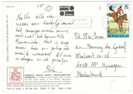 Ref 1241 - 1984 Postcard - Bermuda Olympics 40c Equestrian Horse Show Jumping Stamp - Bermuda