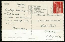 Ref 1242 - 1962 Postcard - Lugano Switzerland - Good Music Slogan For Luzern - Music