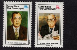 671399434 TURKISH CYPRUS 1985 POSTFRIS MINT NEVER HINGED POSTFRISCH EINWANDFREI SCOTT 160 161 FAZIL KUCUK - Chypre (Turquie)