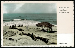 Ref 1242 - Real Photo Surfing Postcard - Surfers At Wind & Sea Beach - La Jolla California USA - United States