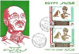 Ägypten1981: FDC Tod Von Präsident Sadat Mit Nr. 882+883 #Z - Ägypten