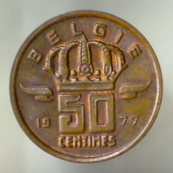 REGNO DEL BELGIO 50 Centimes Legenda Olandese 1977      SPL - 1951-1993: Baldovino I