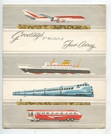 Avion Bateau Train Autocar (illustrateur Anonyme) Printed In England N°956/1 Cp Double Vintage Greetings From Far Away - Cartoline