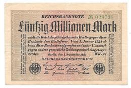 Billet De Fünfzig Millionen Mark 1923 - [ 3] 1918-1933 : Repubblica  Di Weimar