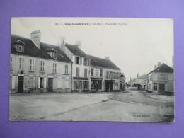 CPA 77 JOUY LE CHATEL PLACE DE L'EGLISE COMMERCES - Frankreich