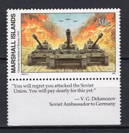 MARSHALL ISLANDS - 1991 History Of The Second World War - German Invasion Of Russia, 1941  M490 - Marshall