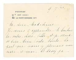 CARTON DE REMERCIEMENTS POUVRAY 61 IGE LA FERTE-BERNARD - Faire-part