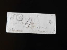 ENVELOPPE DE MOLLEVILLE POUR MONTIGNY LE TILLEUL PAR CHARLEROY  -  1853  - - Marcophilie (Lettres)