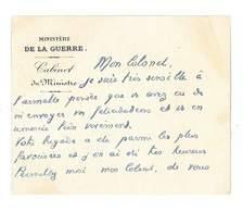 CARTON DE REMERCIEMENTS MINISTERE DE LA GUERRE CABINET DU MINISTRE - Faire-part