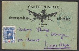 Carte De Franchise Militaire Oblt TRESOR Et POSTES *402* De BOU DENIB + Vignette Croix Rouge G.PELLE - Croix-Rouge