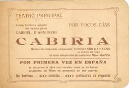 30582. Programa Teatro Principal BARCELONA, Aprox 1930. CABIRIA - Programas