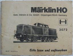 MÄRKLIN H0 Anleitung Lokomotive Diesel Lok 3072 1974 Mehrsprachig Waschzettel - Loks