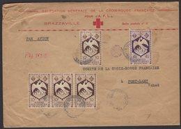 Enveloppe à En-tête De La Délégation Générale De La Croix Rouge Française Pour L'A.F.L. Afrt à 44F Oblt BRAZZAVILLE - Cruz Roja