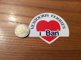 """AUTOCOLLANT, Sticker """"VENTOURIS FERRIES - I LOVE BARI"""" Italie (cœur) - Aufkleber"""