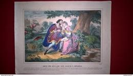Gravure En Couleurs Réhaussées Début 19ème - Abeilard Déclare Son Amour à Héloïse - 27 X 35 Cm - Prenten & Gravure