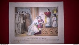 Gravure En Couleurs Réhaussées Début 19ème - Mariage D'Hélöise Et Abeilard - 27 X 35 Cm - Prints & Engravings