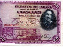 Billet Espagnol De 50 Pesetas ( 15 Aout 1928 ) - [ 1] …-1931 : Prime Banconote (Banco De España)