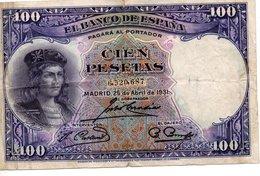 Billet Espagnol De 100 Pesetas ( 25 Avril 1931 ) - [ 2] 1931-1936 : Repubblica