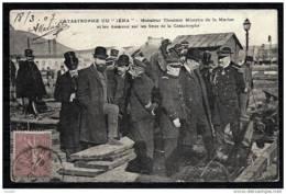 """CPA ANCIENNE FRANCE- TOULON (83)- CATASTROPHE DU """"IENA""""- Mr. THOMSON MINISTRE ET LES AMIRAUX- TRES GROS PLAN - Toulon"""