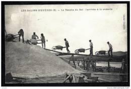 CPA ANCIENNE FRANCE- HYERES (83)- LES SALINS- RECOLTE DU SEL- ARRIVÉE A LA CAMELLE AVEC LES BROUETTES- GROS PLAN - Hyeres