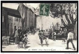 CPA ANCIENNE FRANCE- SIGNES (83)- PLACE ET RUE ST-JEAN EN ÉTÉ- FONTAINE- BELLE ANIMATION- CAFÉ - Signes