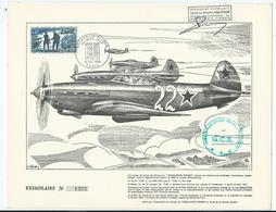 Feuillet Avions De Chasse Normandie Niemen - Documentos Del Correo