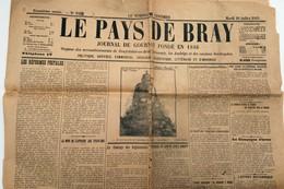 JOURNAL - LE PAYS DE BRAY  -  20 Juillet 1915 - Documents Historiques
