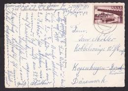 Saar: Picture Postcard To Danmark, 1955, 1 Stamp, Industry, Overprint, Referendum, Card: Youth Hostels (minor Crease) - 1947-56 Gealieerde Bezetting