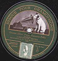 78 Trs - 30 Cm - Etat B - ORCHESTRE VESTRIS - Solo De Piston - La Capricieuse - Gouttes D'Eau - 78 T - Disques Pour Gramophone