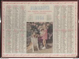 Calendrier 1954 Almanach Des P.T.T - En Famille - 21 Côte D'Or - Calendriers