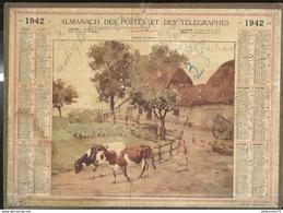 Calendrier 1942 Almanach Des P & T - Sortie De Ferme - 71 Saône Et Loire - Calendriers