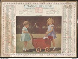 Calendrier 1948 Almanach Des P.T.T - Petites Mamans - 21 Côte D'Or - Grossformat : 1941-60