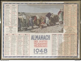 Calendrier 1948 Almanach Des P.T.T - Vendanges En Champagne - 21 Côte D'Or - Calendriers