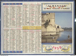 Calendrier 1958 Almanach Des P.T.T - Le Rhone à Avignon - Grossformat : 1941-60