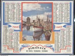 Calendrier 1959 Almanach Des P.T.T - Port De La Rochelle - 21 Côte D'Or - Grossformat : 1941-60