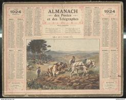 Calendrier 1924 Almanach Des Postes Et Des Télégraphes - Labours Dans La Montagne Noire - Calendriers