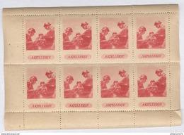 """Planche De 8 Vignettes """" Artillerie """" Circa 1930 - Erinnophilie"""
