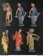 Lot De 6 Figurines Plastique Café Maurice Peintes - Divinités Chinoises - Circa 1960 - Figurines