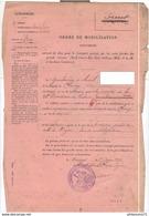 Ordre De Mobilisation D'un Gendarme à Cheval L'autorisant à Voyager Gratuitement En Train...avec Sa Monture - 1905 - Dokumente