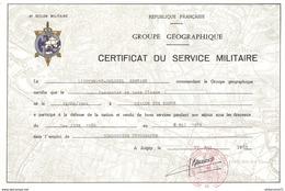Certificat Du Service Militaire - Groupe Géographique - 6ème Région Militaire - Attribué 1985 - Documents
