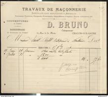 Facture D. Bruno - Travaux De Maçonnerie - Chalon Sur Saône - 1899 - France