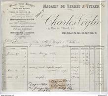 Facture Charles Véglio - Glaces Pour Vitrage - 11 Rue De Thiard - Chalon Sur Saône - 1904 - France