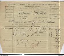 Facture Edmond Petitot - Chapeaux - Corsets 7 Place De Beaune - Chalon Sur Saône - 1896 - France